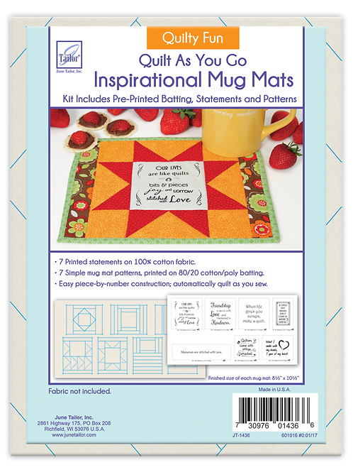 Inspirational Mug Mats - Quilty Fun - Quilt As You Go