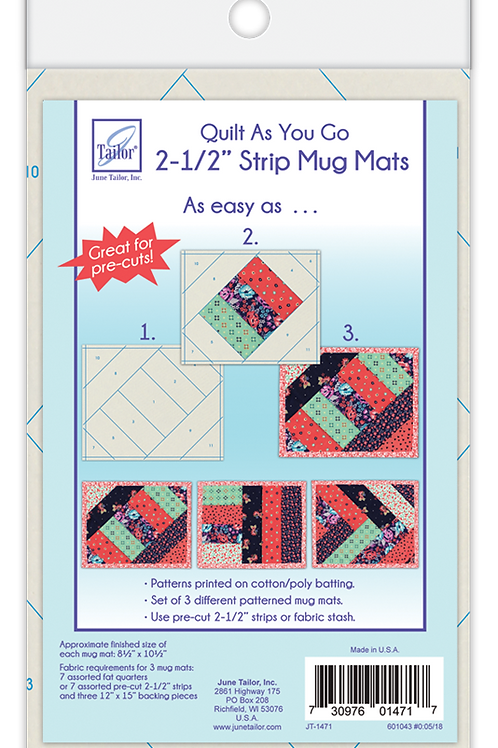 "Mug Mats - 2-1/2"" Strip - Quilt As You Go - 3 pk"