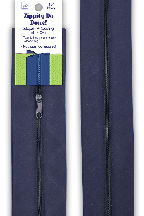"Zippity Do Done 18"" Navy zipper with pull"
