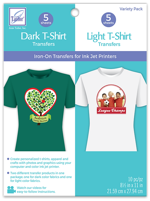 Variety Pack Dark and Light T-shirt Transfers - 10 pack
