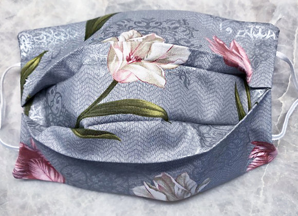 Blooming Tulips - Gray, Reversible Face Mask