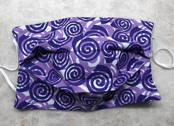 Geo Swirls - Purple, Reversible Face Mask