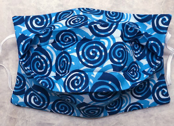 Geo Swirls - Blue, Reversible Face Mask