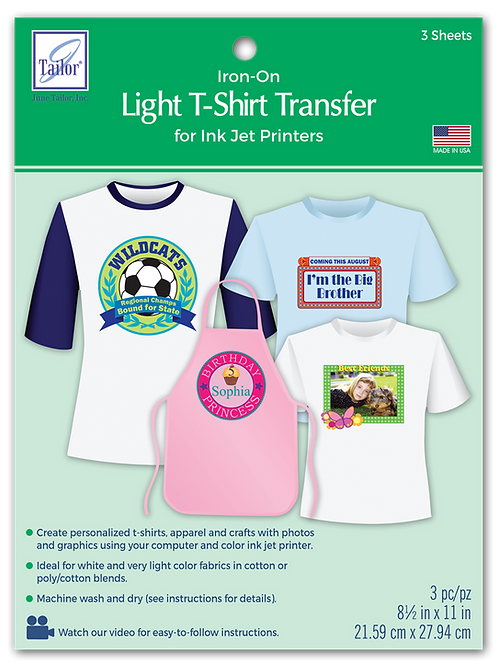 Light T-Shirt Transfers - 3 pack