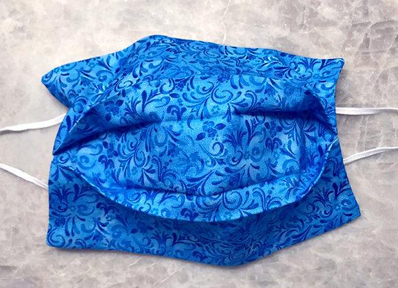 Tonal Vine - Blue, Reversible Face Mask