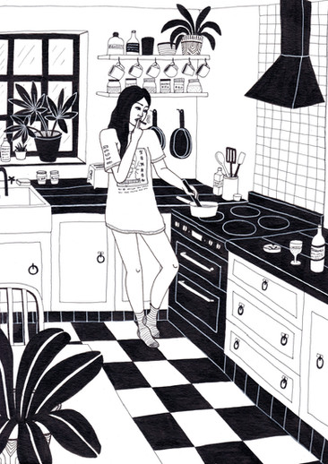 She likes to smoke cigarettes while she cooks herself dinner