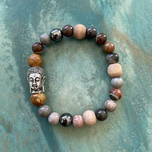 Jasper & Buddha Mala Bracelet