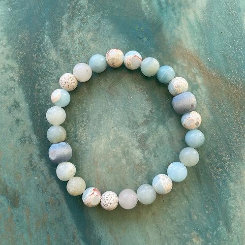 Amazonite & Pagodite Mala Bracelet