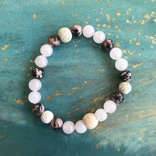 Rose Quartz & Rhodonite Mala Bracelet