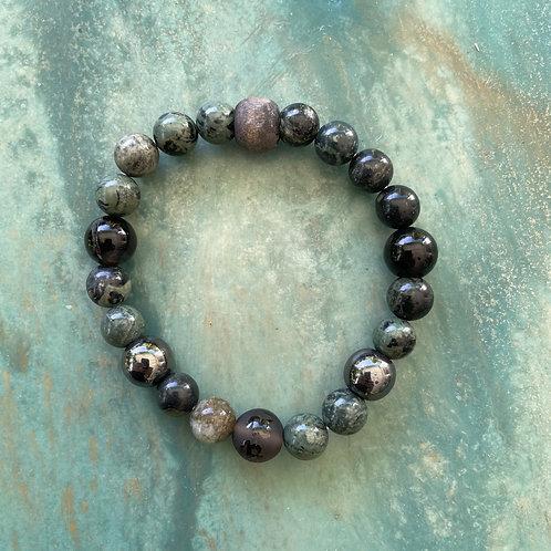 Kambaba Agate & Hematite Mala Bracelet