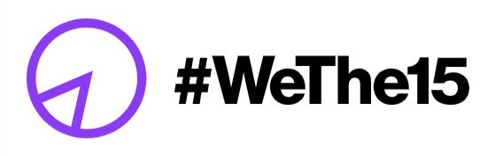 #WeThe15 and its logo which is a purple circle with a triangle inside showing 15% of the whole.