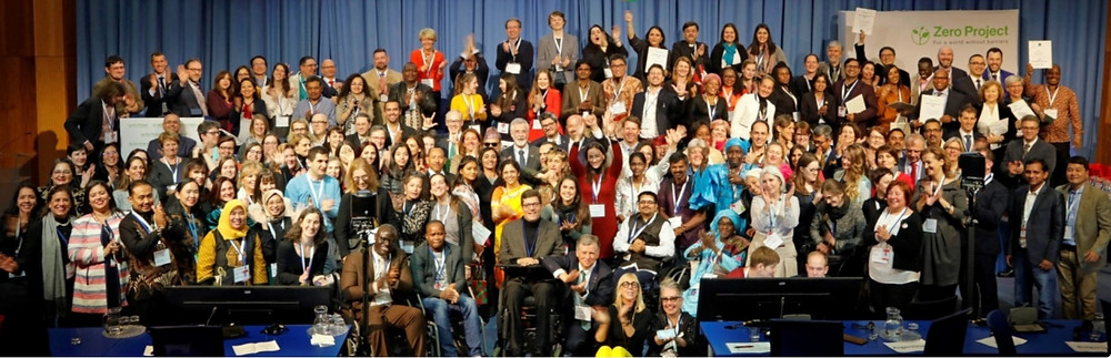 Large group of awardees at The Zero Project Conference, UN Vienna February 2020