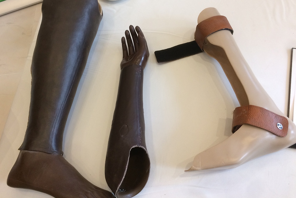 Prosthetic limbs in an African workshop.