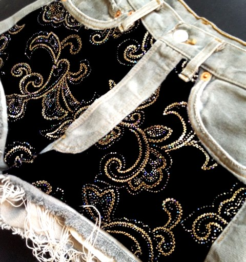 Grey Denim & Vintage Velvet Panels
