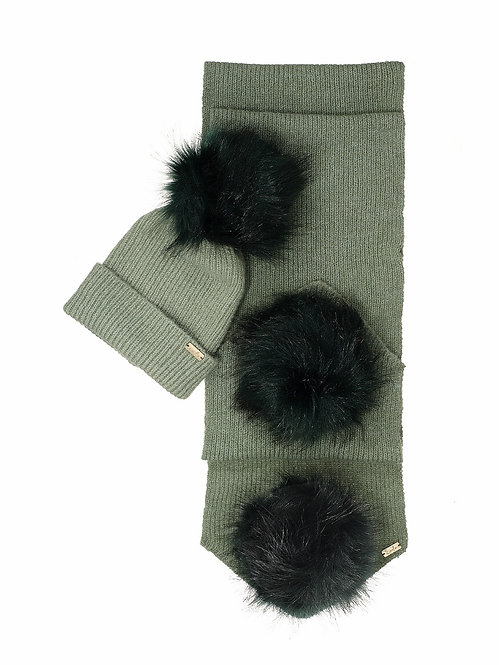 SAGE GREEN KIDS POM-POM HAT & SCARF SET