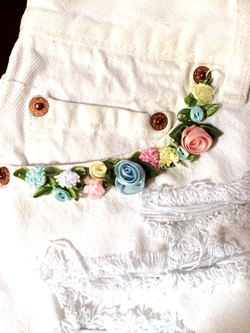 White Denim & Pastel Flowers