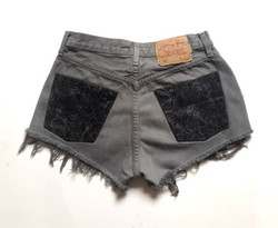 Grey with Black printed Back Pockets