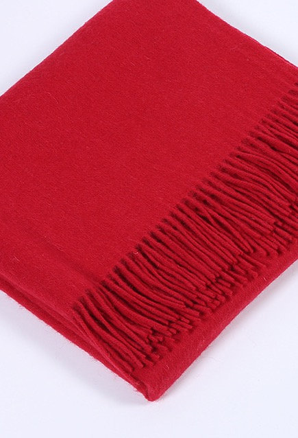 BERRY RED MONOGRAM CASHMERE BLANKET SCARF