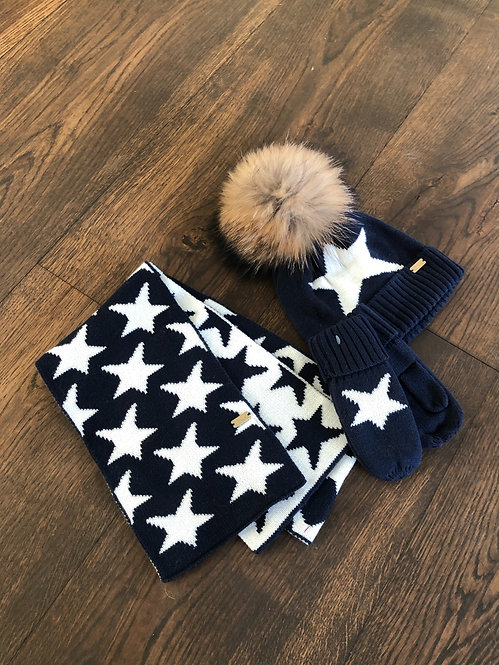 TODDLERS BEANIE, SCARF & MITTEN SET