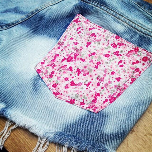 Bleached-out Denim & Floral Pocket