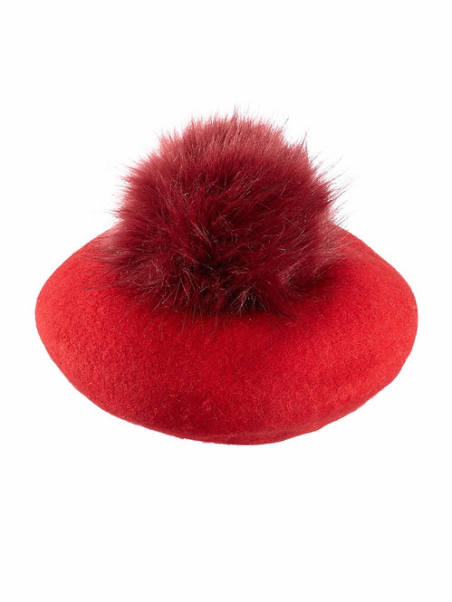 CRIMSON RED POM-POM BERET