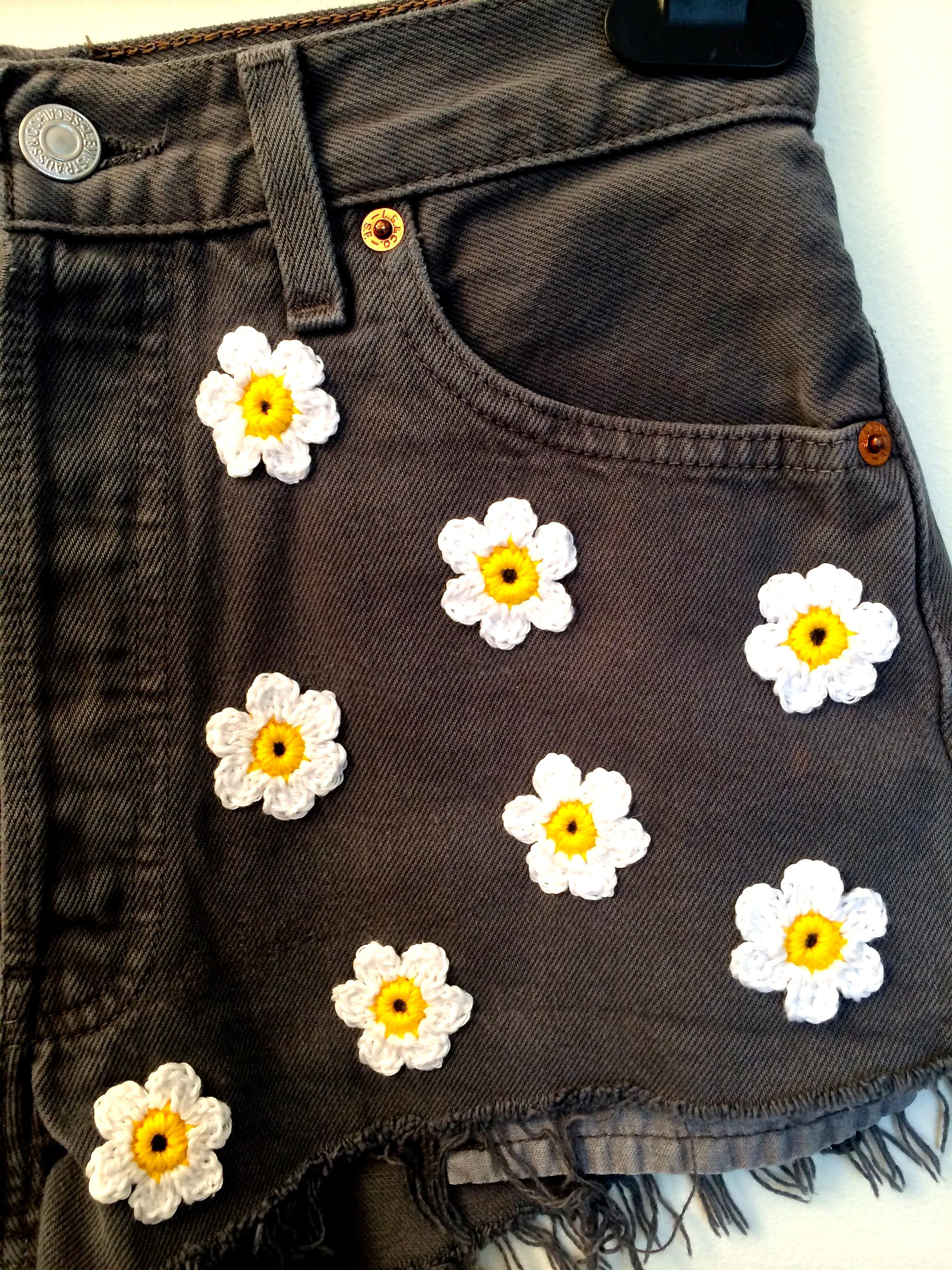 Grey Denim & Crochet Daisies