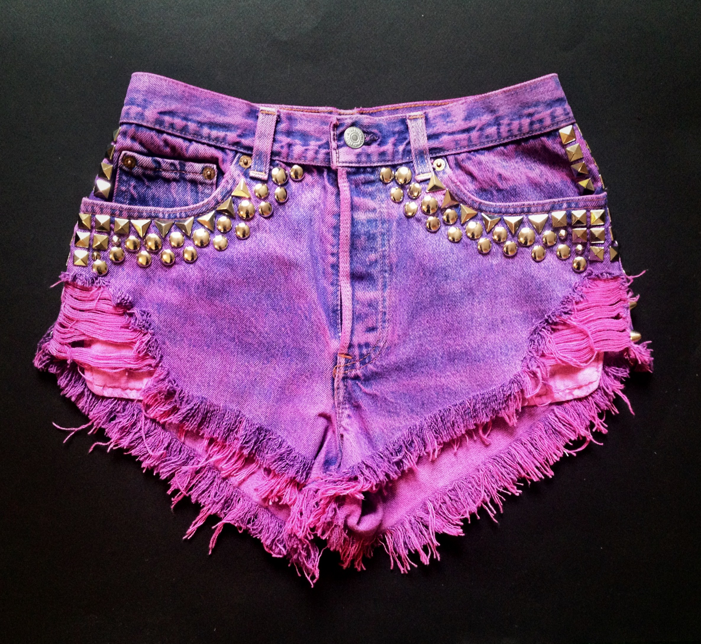 Hot Pink Deluxe Studded Shorts