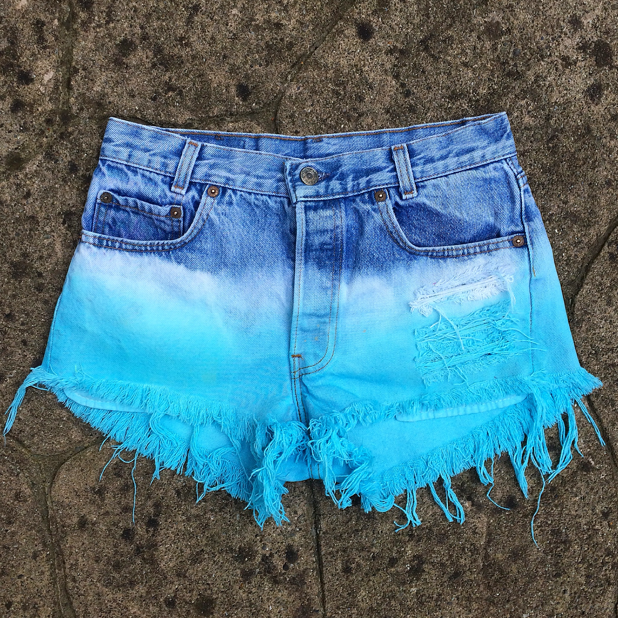 Bleached and DipDyed Turquoise