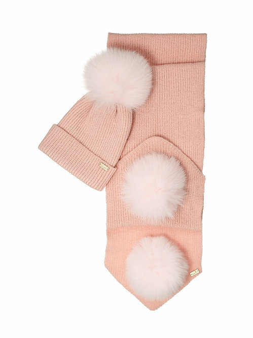 POWDER PINK KIDS POM-POM HAT & SCARF SET