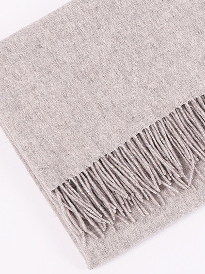HEATHER GREY MONOGRAM CASHMERE BLANKET SCARF