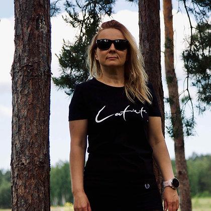 Melns sieviešu kokvilnas T-krekls // Latviete
