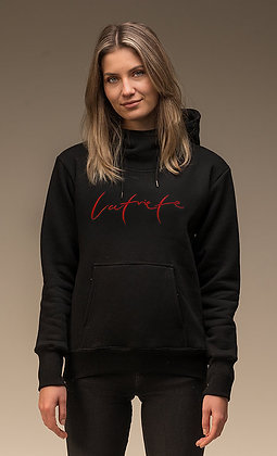 Džemperis ar kapuci - melns // Latviete