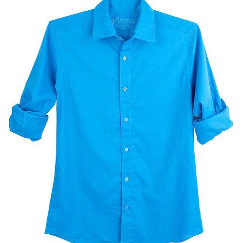 Blue Linen Slim Fit Dress Shirt
