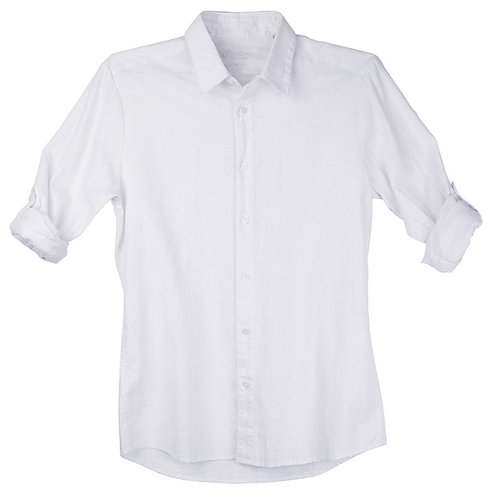 White Linen Slim Fit Dress Shirt