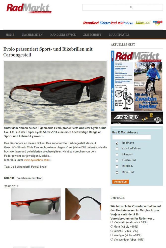 Evolo prasentiert Sports-udn Bikebrillen mit Carbongestell