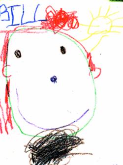 My preschool son's drawing of me