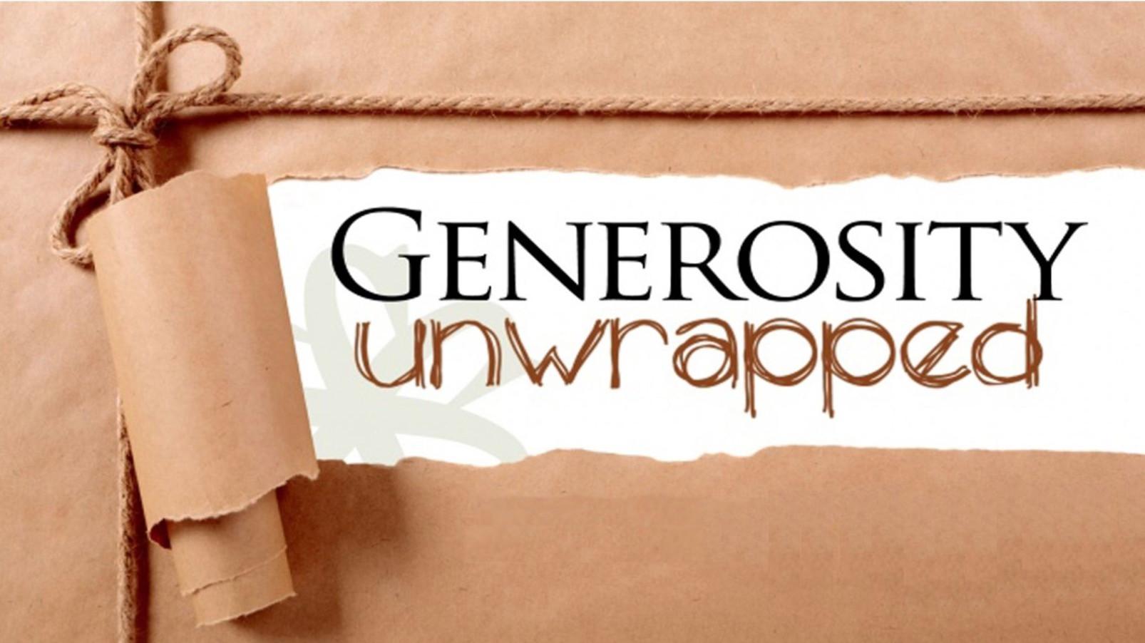 """""""Generosity Unwrapped"""" Key Art"""