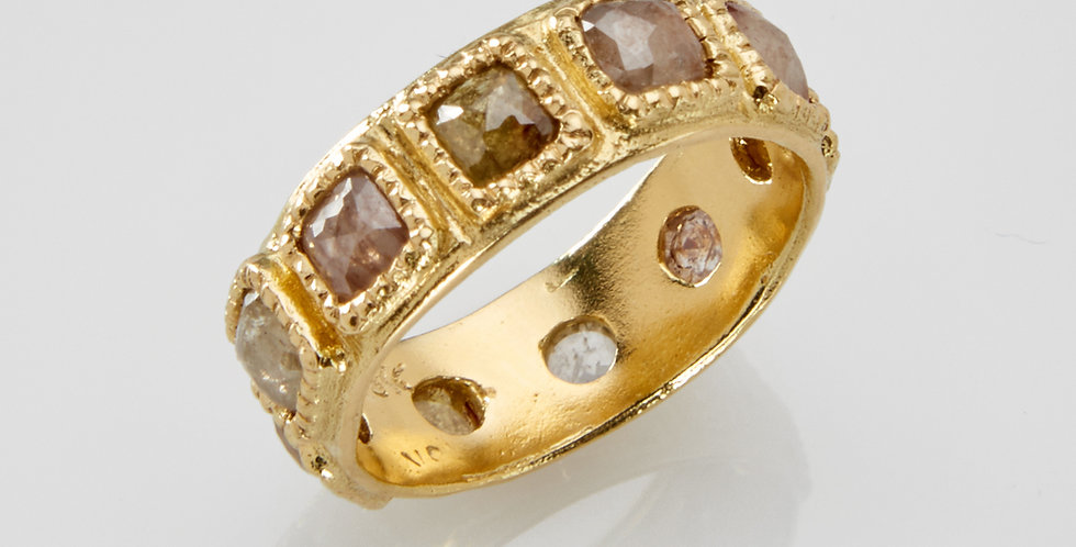 Rose cut Colorful  Rough diamond with 18k gold ring