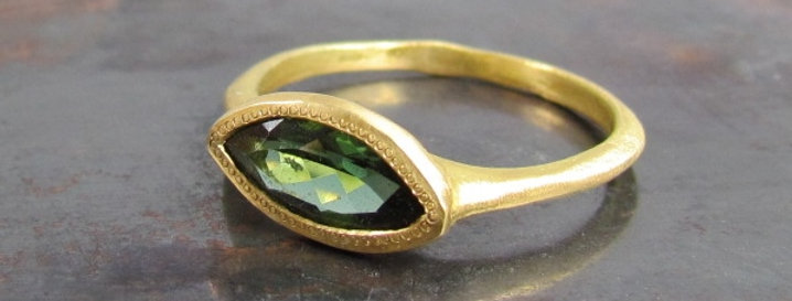 Marquise Green Tourmaline Ring