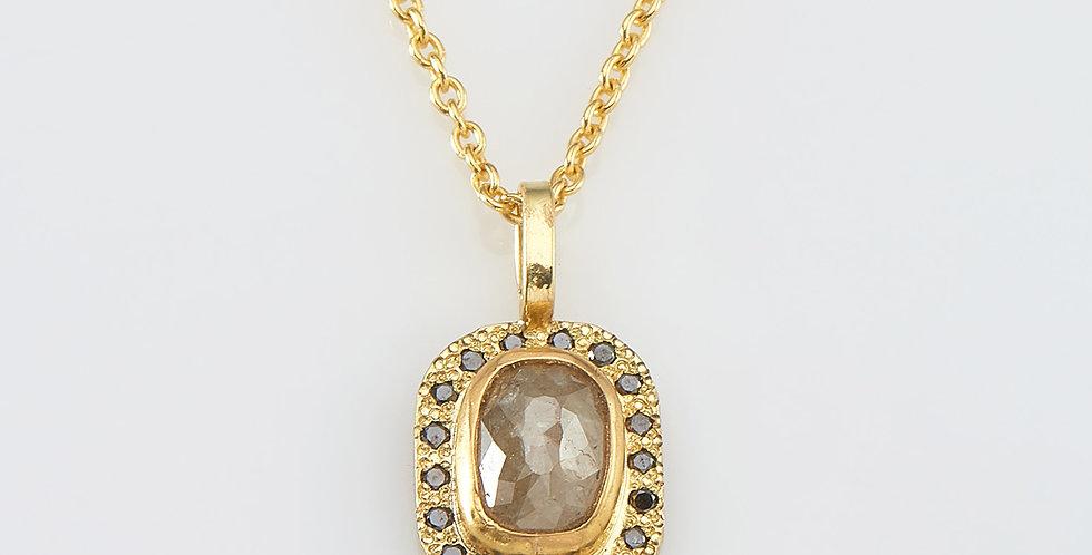Light grey rectangular rose cut diamond with black diamonds
