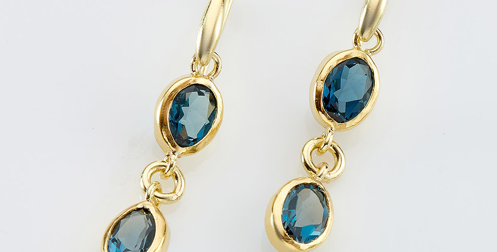 Drop earrings with London Blue Topaz stones
