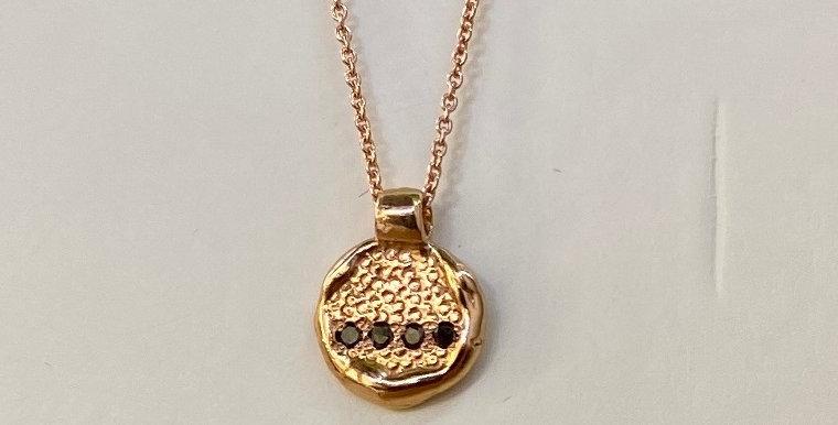Small round pendant rose gold with black diamonds