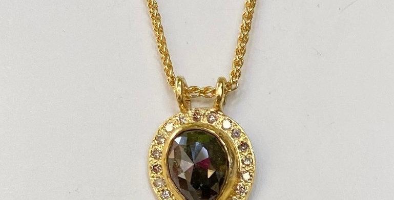Brown drop raw diamond with black diamonds