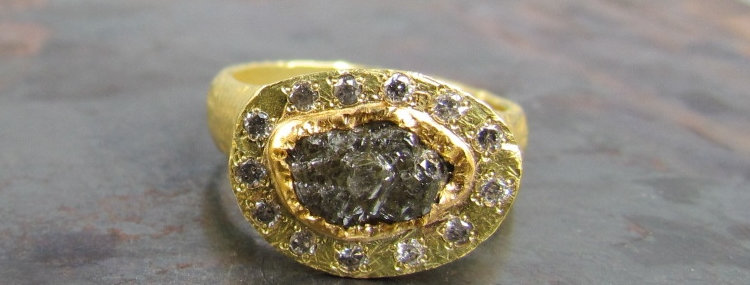 Rustic & Elegant raw diamond ring with brown diamonds