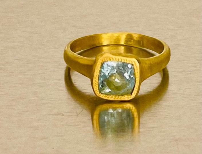 Aquamarine square cut ring