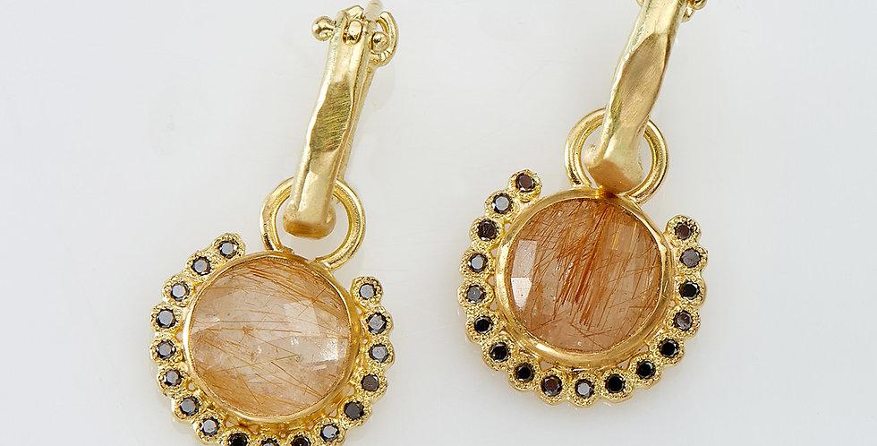 Gold Hoops with Rutile quartz stones and black diamonds