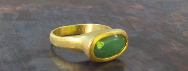 Opaque Emerald with 18k brush gold