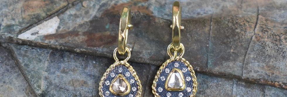 Rose cut Diamonds , white diamonds 18k gold and silver