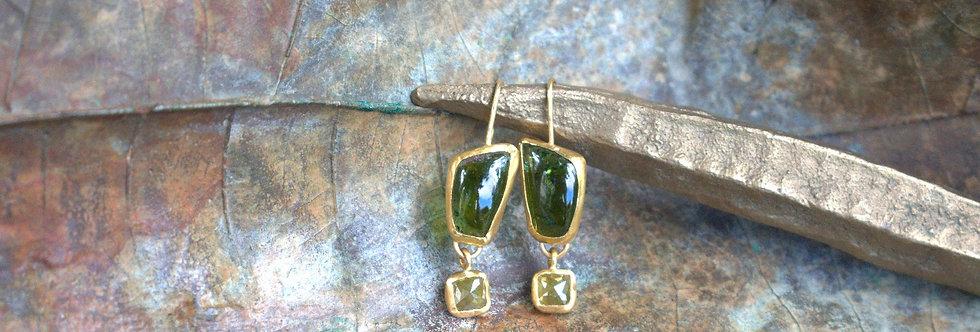 Green Tourmalines and rough diamonds drop earrings