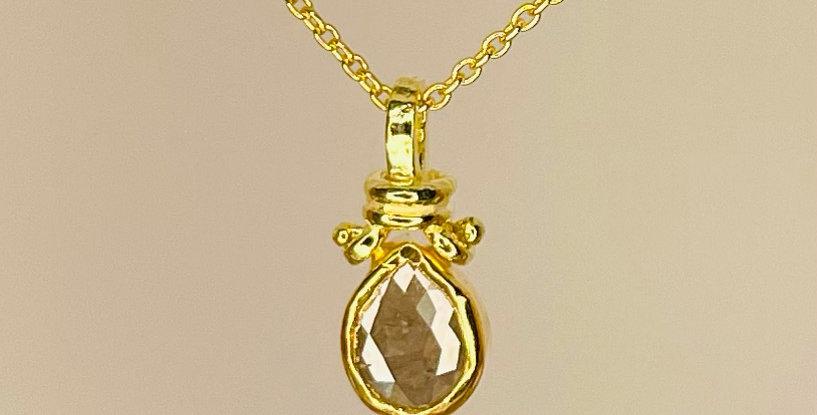 Grey drop rough diamond pendant